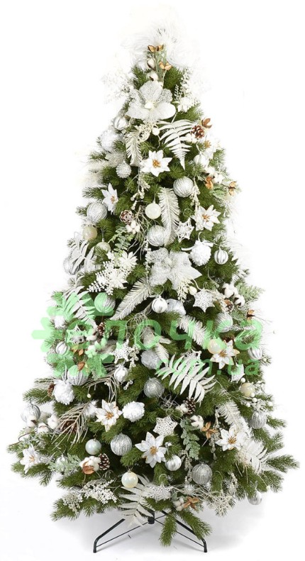 Авторский набор декора на елку White Poinsettia